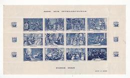Lot De 5 Blocs De 12 Vignettes    Aide Aux Artistes Et Intellectuels    Années 1942 / 1945 - Erinnophilie