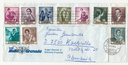 Spain Multifranked Hotel Mella Granada Company Letter Cover Posted 197? To Germany Romero De Torres Stamps B200501 - 1971-80 Lettres