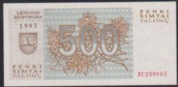 Ref. 2925-3348 - BIN LITHUANIA . 1993. LITHUANIA 500 TALONAS 1993 - Lituania
