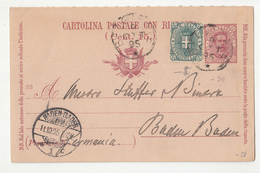 Italy Postal Stationery Postcard - Cartolina Postale Con Risponza Posted 1895 To Baden-Baden B200501 - Postwaardestukken
