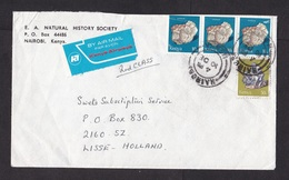 Kenya: Airmail Cover To Netherlands, 4 Stamps, Mineral, Air Label Kenya Airways, Bold Red Type (damaged!) - Kenya (1963-...)