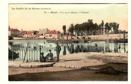 CPA GIVET : Vue Sur La Meuse - L'Hôpital - Couleurs Et Animée - Circulée - Ed. Artistique E.R.T. - 2 Scans - Givet