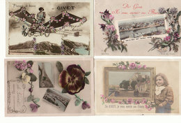 Petit Lot De 4 CPA GIVET ( Amitiés, Envoi De Fleurs ...) Avec Petites Vues - Circulées Vers 1911 - Voir Les 4 Scans - Givet