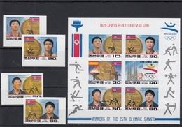 North Korea 20.12.1992 IMPERF Mi # 3367-70, Kbogen 3367-72 Northkorean Champions Of Barcelona Summer Olympics MNH OG - Estate 1992: Barcellona