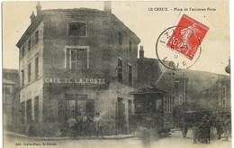 A3 Loire LE CREUX 42  Le Tramway électrique Place De L'ancienne Poste 1909 - Other Municipalities