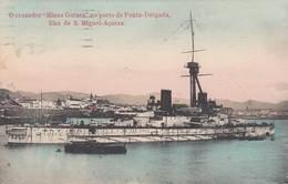 """Ponta Delgada ,  Azores , Portugal , 1900-10s ; O Cruzador """"Minas Geraes"""" - Açores"""