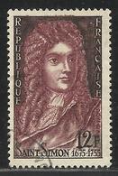 FRANCE , FRENCH , 12 F , Bicentenaire De La Mort De Louis De Rouvroy , Duc De Saint Simon , 1955 , N° YT  1008 ( O ) - Used Stamps