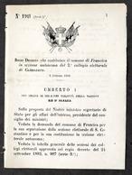 Decreto Regno Italia Costituzione Comune Di Francica In Sezione Catanzaro 1884 - Vieux Papiers