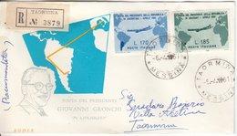 Itaien - 170+185 L. Visita Gronchi, Schmuck-FDC/Einschreiben Taormina 1961 - Italie