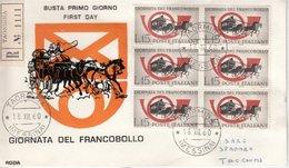 Italien - 15 L. Tag D. Briefmarke, 6er-Block A. Schmuck-FDC/R-Brief Taormina - Italie