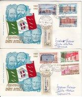Itaien - 100 J. Einigung Italien, Satz A. 2 Schmuck-FDC/Einschreibebriefe - Italie