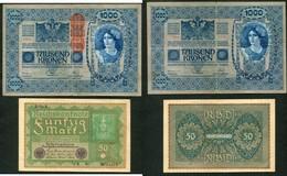 LOT DE 3 BILLETS D'ALLEMAGNE ET D'AUTRICHE - Coins & Banknotes