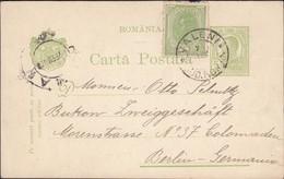 Romania - Postal Statonery Card, MiNr. P 50. VALENI (Jud. Roman) 7.2.1908 - Barlin. - Ganzsachen