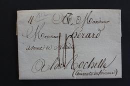 1812 PARIS LAC DATEE DU 21/04/1812 MARQUE P DANS UN TRIANGLE  OUVERT POUR LA ROCHELLE TAXE MANUSCRITE.. - Postmark Collection (Covers)