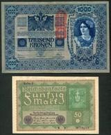 LOT DE 2 BILLETS D'ALLEMAGNE ET D'AUTRICHE - Coins & Banknotes