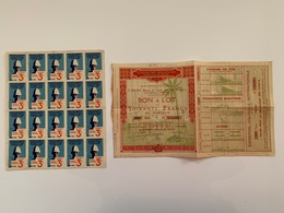 Lot Exposition Coloniale 1931 Ensemble Pour L'achat Des 20 Billets  Bon à Lot + Talon Pour Obtenir Les Billets Bien - Biglietti D'ingresso