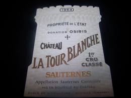 Etiquette Vin Wine Label Sauternes Chateau La Tour Blanche 1964 Ecole Viticulture Et Oenologie 1er Cru Classé Bommes - Bordeaux