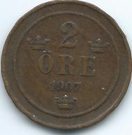 Sweden - 1907 - Oscar II - 2 Öre - KM769 - Sweden