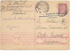 SH 0502. EP Mi P 299 AUSCHWITZ(OBERSCHLES) Lager BÜCHENWALD 10.8.44 V. IXELLES/BRUXELLES. Censure A.c. +GFF AUSCHWITZ.. - Allemagne