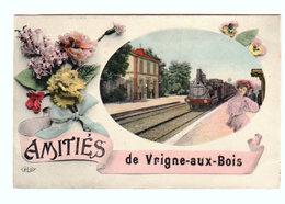 CPA Amitiés De VRIGNE-AUX-BOIS ( Rare Fantaisie Fleurs Gare Et Train ) - Circulée En 1911 - 2 Scans - Autres Communes