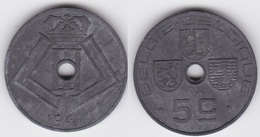 LOT30  LEOPOLD III  5 CENTIMES ZINC TYPE JESPERS  1941 Flamande/Française - 1934-1945: Leopold III
