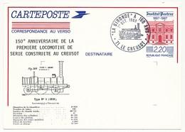 """FRANCE - Entier Repiqué 2,00 Institut Pasteur - """"La Gironde A 150 Ans"""" Le Creusot 1er Octobre 1988 - Trains"""
