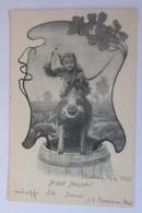 Neujahr, Kinder, Krampus, Sekt, Kleeblatt, Fass,1900, Fee. Ch. Scolik  ♥ (10812) - New Year