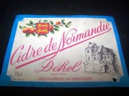 Etiquette Cidre Cider Cidre Pomme Apple Cidrerie De Normandie Dehel Honfleur Ancienne - Autres