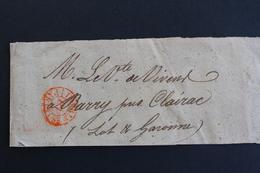 BANDE DE JOURNAL CAD ROUGE DES IMPRIMES DE PARIS POUR BARRY( LOT ET GARONNE).. - 1849-1876: Classic Period