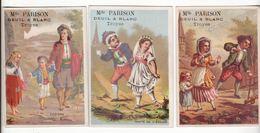 Chromo  MAGASIN PARISON  à Troyes    Lot De 3    Couples, Enfants Etc     10 X 7 Cm - Kaufmanns- Und Zigarettenbilder