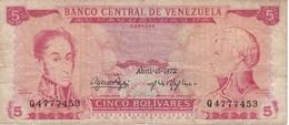 BILLETE DE VENEZUELA DE 5 BOLIVARES DEL AÑO 1972  (BANK NOTE) - Venezuela