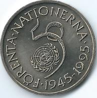 Sweden - 1995 - Carl XVI Gustaf - 5 Kronor - KM885 - 50th Anniversary Of The UN - Suède