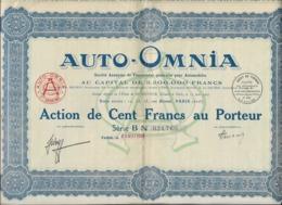 AUTO -OMNIA - ACTION DE CENT FRANCS - 1928 - Automobile