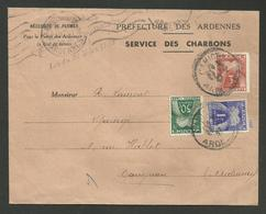 Prefecture Des ARDENNES - Service Des Charbons 02.1947 / Taxe Simple 4.50F >>> CARIGNAN - Lettres Taxées