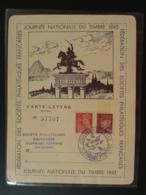 Carte-lettre Vercingétorix Journée Du Timbre Clermont Ferrand 63 Puy De Dome 1943 - Covers & Documents