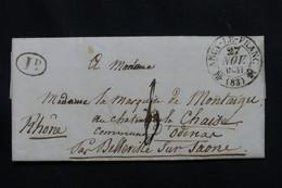 FRANCE - Cachet De Ancy Le Franc Sur Lettre Pour Odenar Par Belleville / Saône En 1831 - L 60582 - 1801-1848: Voorlopers XIX