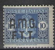 TRIESTE 1947 SEGNATASSE SU DUE RIGHE 10 LIRE * GOMMA ORIGINALE - 7. Triest