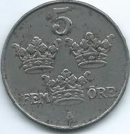 Sweden - 1917 - Gustav V - 5 Öre - KM791 - Iron Coin - Sweden