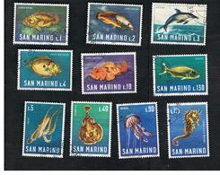 SAN MARINO - UNIF. 721.730  - 1966  FAUNA MARINA (SERIE COMPLETA DI 10)   -  USATI (USED°) - Oblitérés