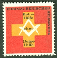"""Germany Freimaurer Maconnique Massone Freemasonry """" Freimaurerisches Hilfswerk """" Vignette Cinderella Reklamemarke - Erinnophilie"""