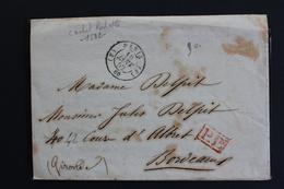1852 LAC PARIS CAD 10 JANV 1852 TYPE 15 POUR BORDEAUX CAD ARRIVEE 12/01/1852 CAD PARIS 6 DU 10 AU VERSO .. - 1849-1876: Klassik