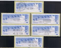 6 ATMs,LISA1, ENCRE NOIRE, 0.10 Oblitéré, 0.10 Et 0.10FRF/0.01EUR.avec Reçus, TEST 0.10FRF/0.01EUR. PAPIER JUBERT BLEU - 1990 «Oiseaux De Jubert»