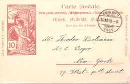 SUISSE / CARTE POSTALE DE 10cts ROUGE DE 1905 UNION POSTALE UNIVERSELLE - Entiers Postaux