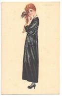Cpa...illustrateur Nanni...art Nouveau...art Déco...femme Avec Un Chien Dans Les Mains... - Nanni