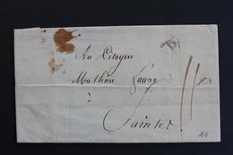 1798 ?PARIS  DATE DU 18 THERMIDOR 6 (05/08/1798)  MARQUE P DANS UN TRIANGLE POUR SAINTES SANS CORRESPONDANCE.. - Marcophilie (Lettres)