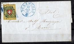Suisse YT N° 15 Oblitéré Sur Belle Lettre Entière De 1854. A Saisir! - 1843-1852 Federal & Cantonal Stamps