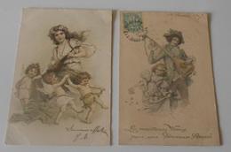 Lot 5 Cartes Postales : Illustrateurs :: Femmes - Hommes - Enfants - Autres