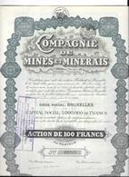 10 Actions Cie Des Mines Et Minerais à BRUXELLES, - Mines