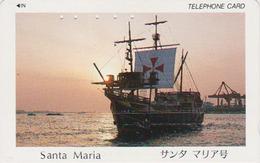 TC Japon / 110-011 - BATEAU VOILIER - SANTA MARIA & Sunset - SHIP / Italy Rel. Japan Phonecard  - 434 - Boats
