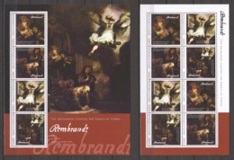 Guinee - MNH Set Of 2 Sheets (3) PAINTING REMBRANDT - THE ARCHANGEL LEAVING THE FAMILY OF TOBIAS - Rembrandt